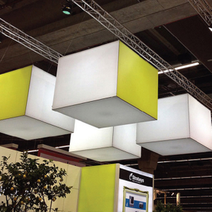 Lightweight Portable Suspended Illuminating Cube Fabric Lightbox Display
