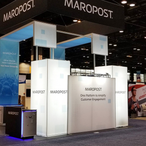 Aluminium Trade Show Tension Fabric Booth with Illuminating Square Tower