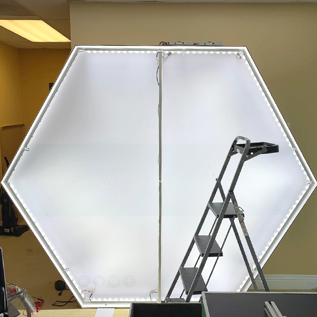 Custom Printed Double Sided Portable Hexagonal Fabric Backdrop